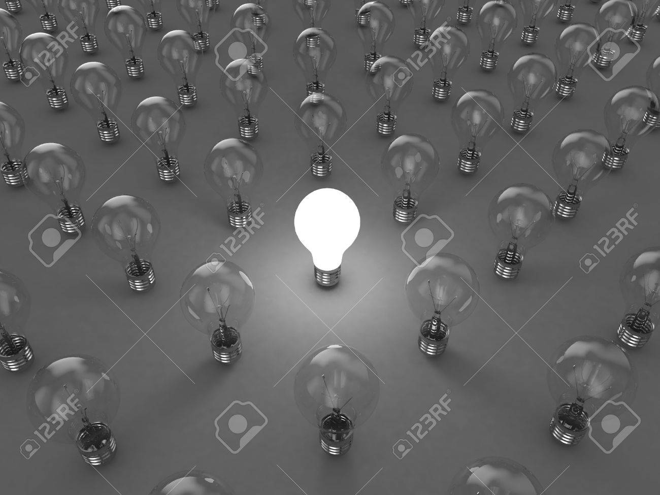 Illustration of a bright lamp against other switched off Stock Illustration - 7435516