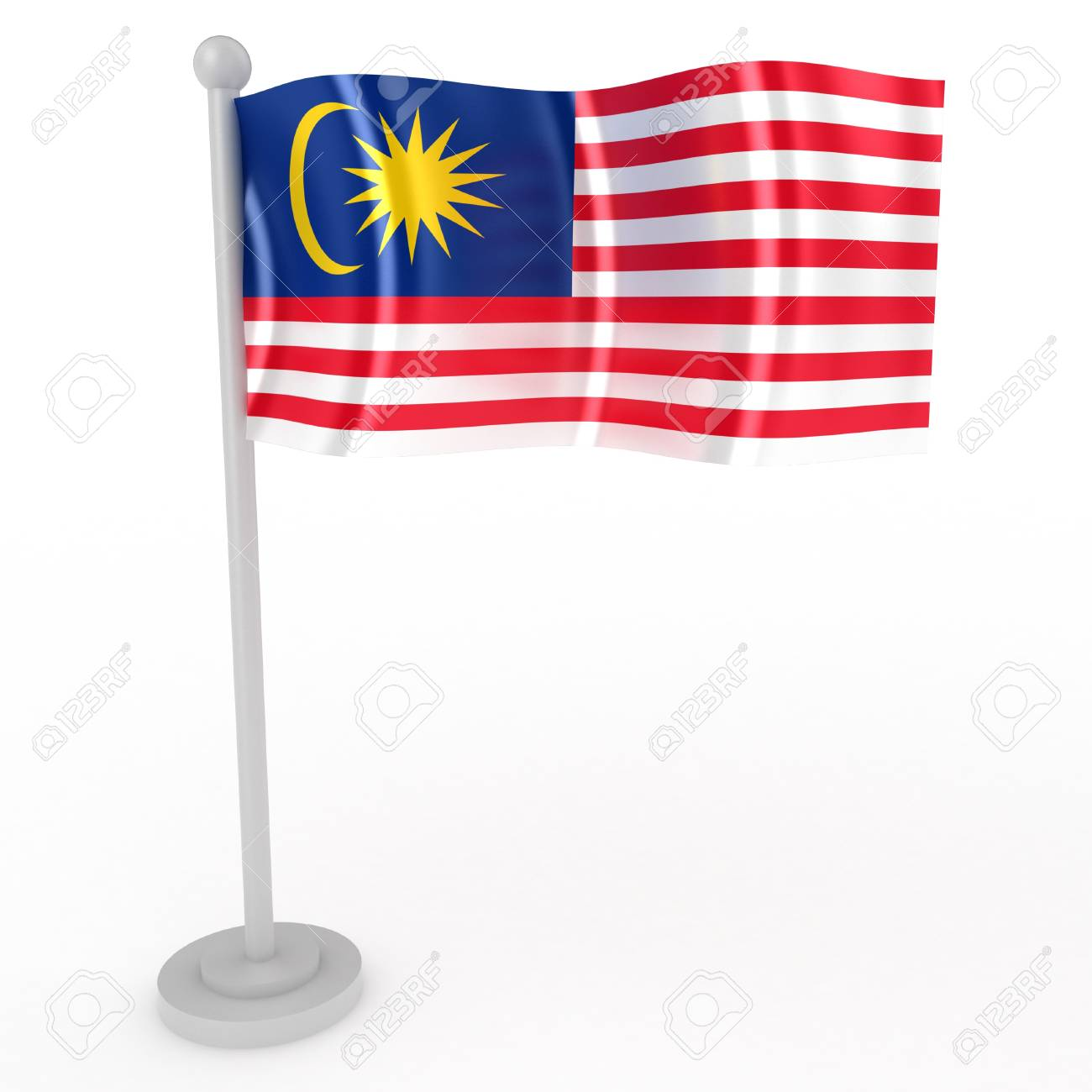 Illustration of a flag of Malaysia on a white background Stock Photo - 8853487