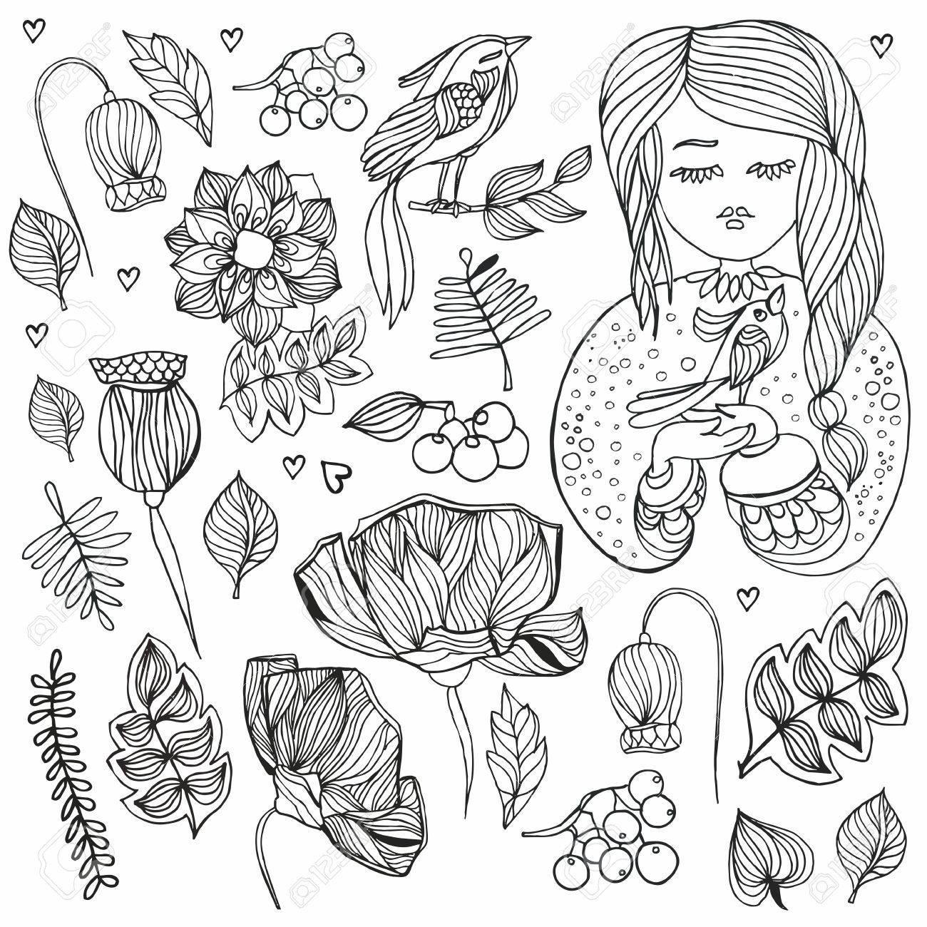 Doodle Blumen Und Madchen Mit Vogel Valentinstag Set Anti Stress