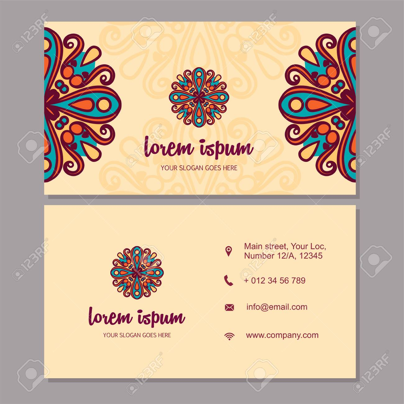 Visiting Card And Business Card Set With Mandala Design Element ...