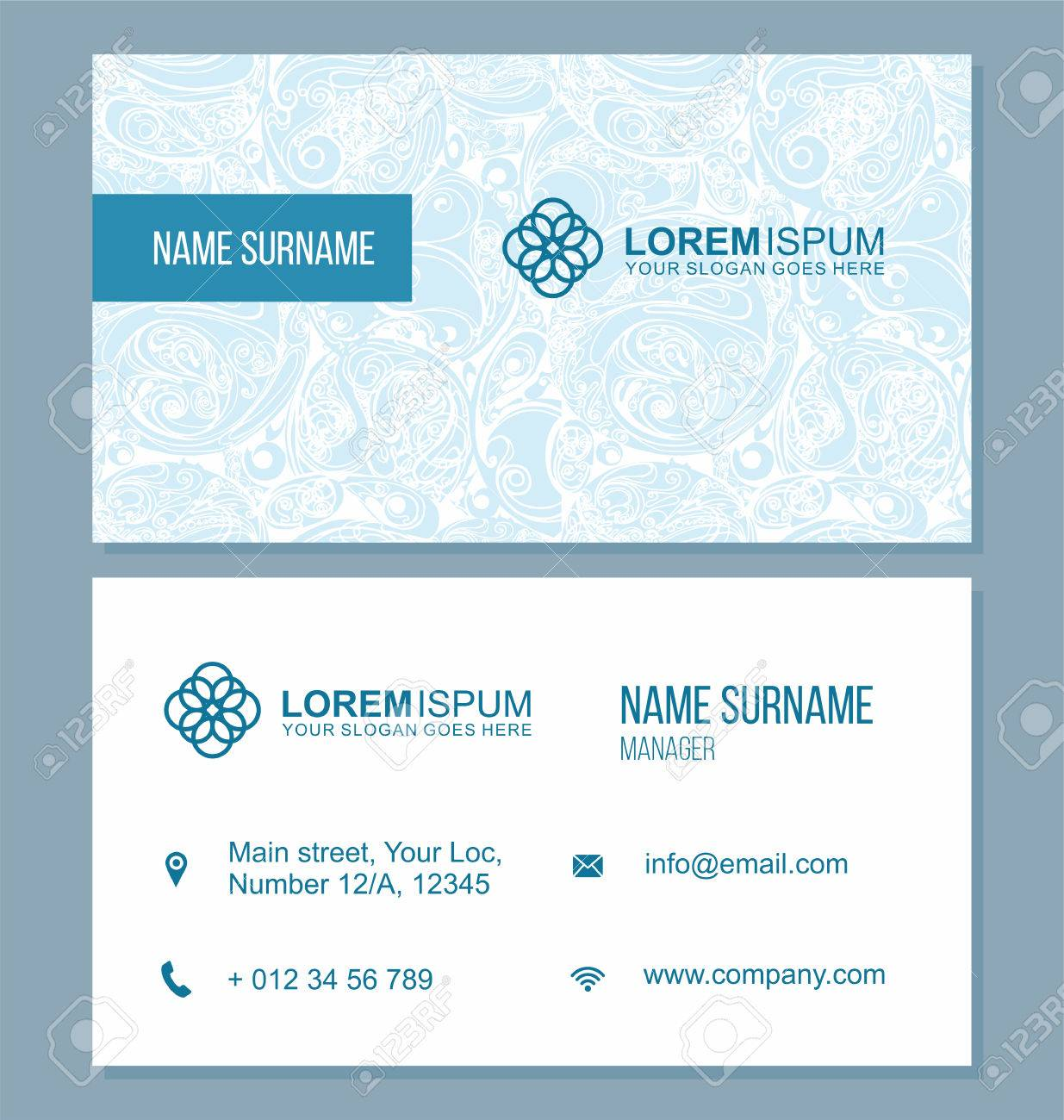 Visiting Card, Business Card With Abstract Pattern. Vector Corporate ...