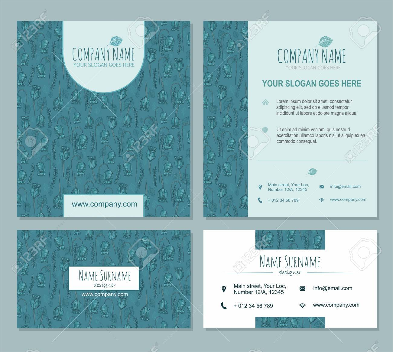 Brochure template set with floral pattern background visiting brochure template set with floral pattern background visiting card business card identity design stopboris Choice Image