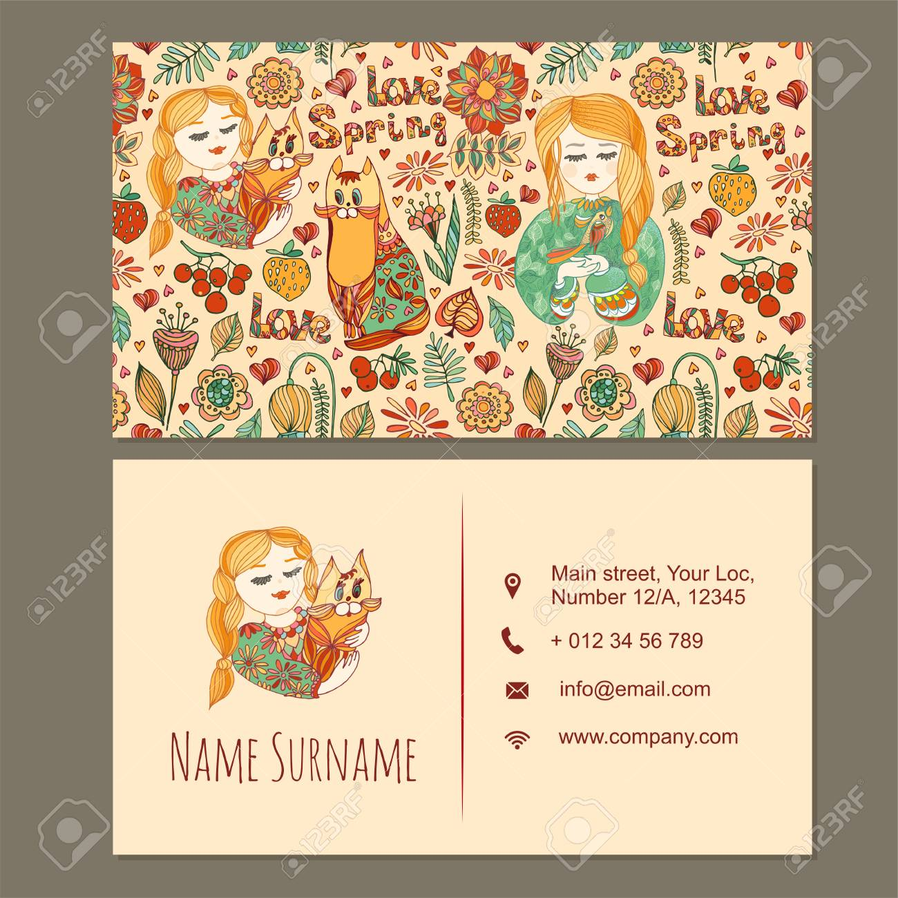 Visiting Card, Business Card Template With Cute Hand Drawn Floral ...