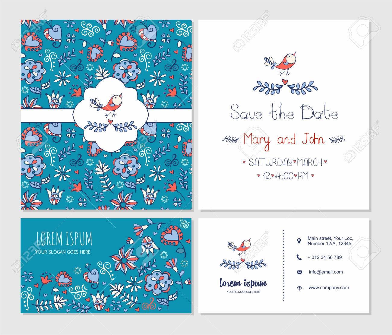 Carte De Visite Ou Avec Mignon Motif Floral Et