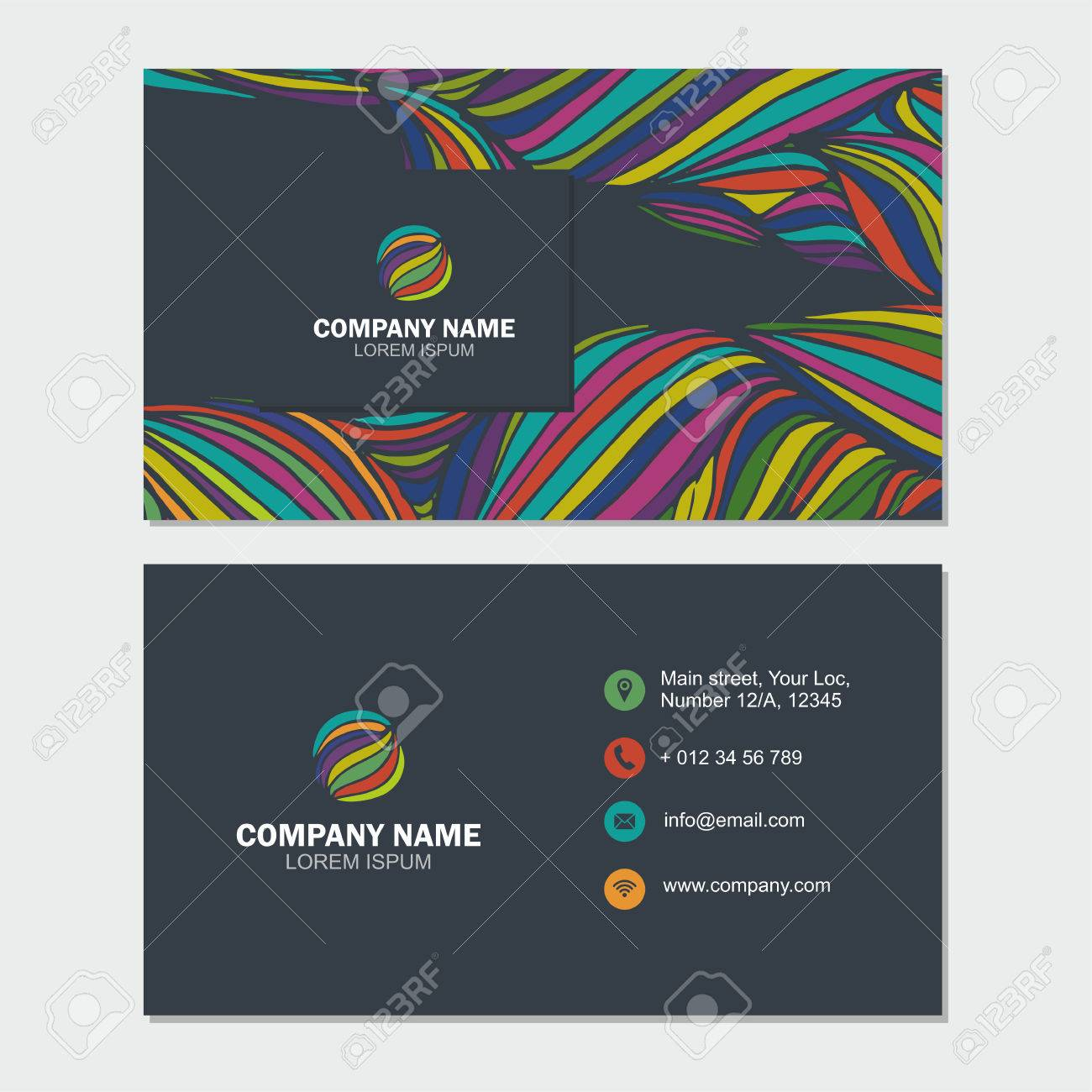 Business card or visiting card template with abstract logo element business card or visiting card template with abstract logo element flower vector design editable template accmission Choice Image