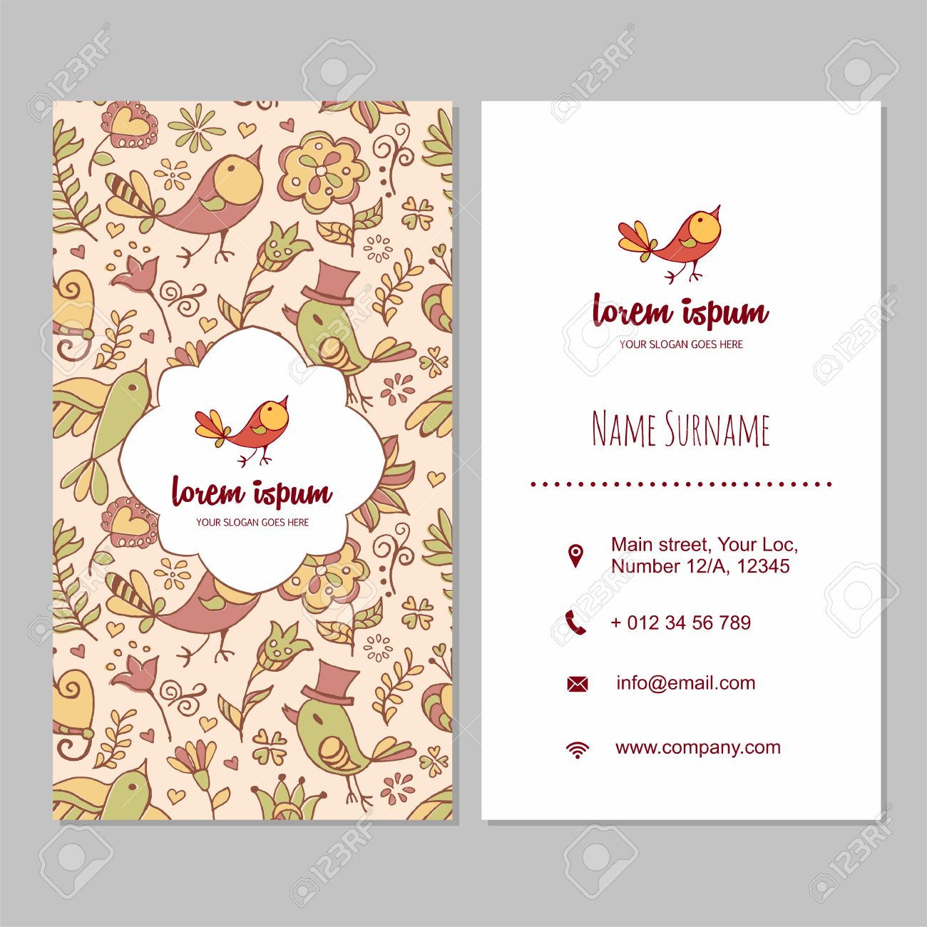 Visiting Card Or Business Card Set With Cute Hand Drawn Bird ...