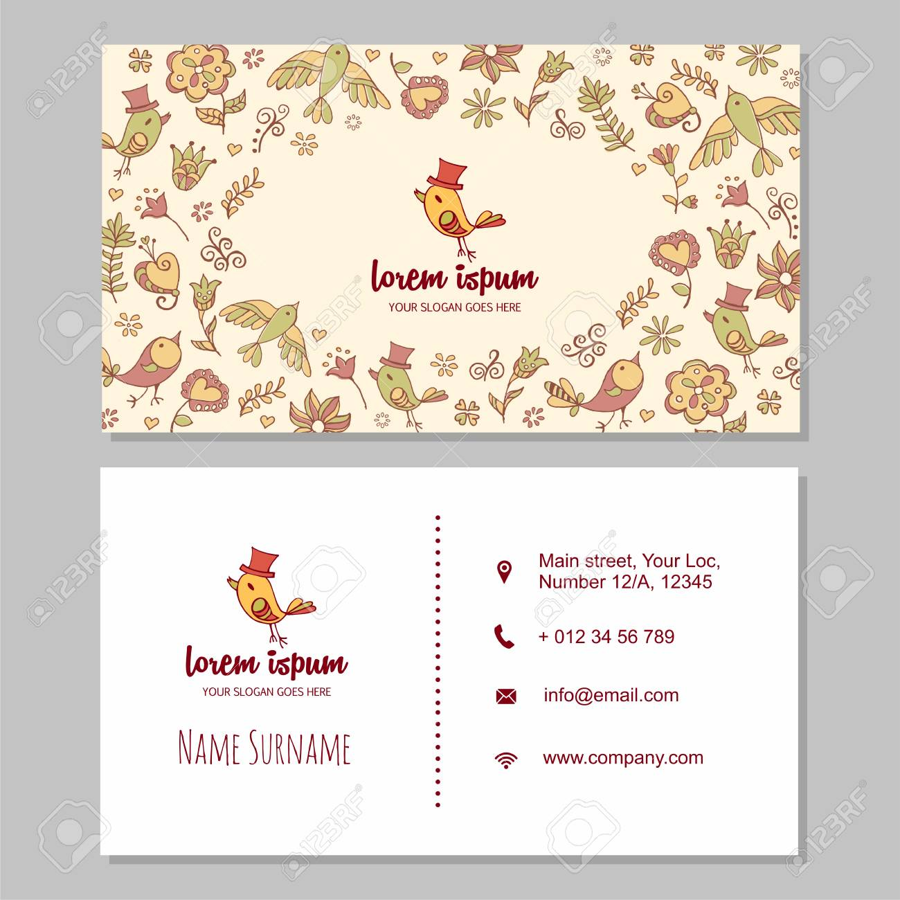 visiting card or business card set with cute hand drawn logo
