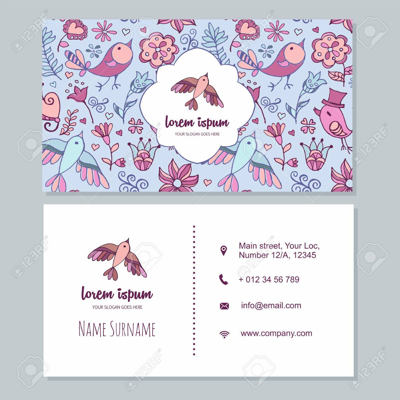Visiting Card Or Business Card Set With Cute Hand Drawn Bird