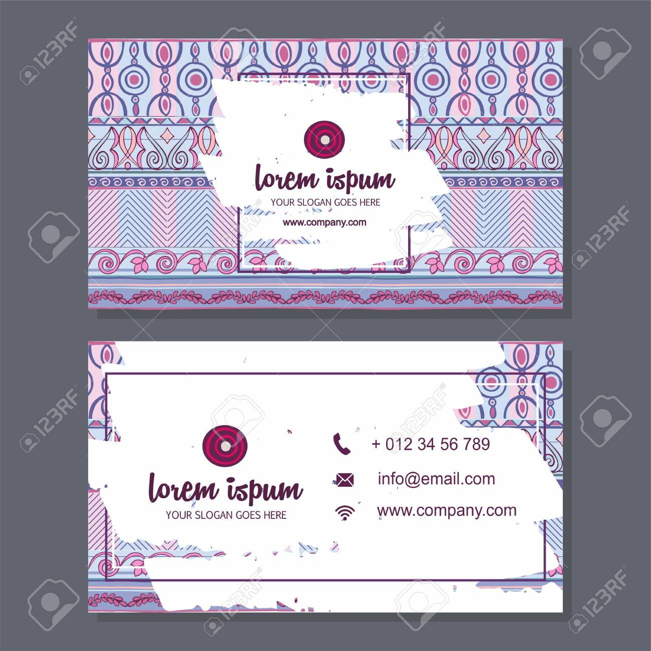 Business Card Or Visiting Card Template With Boho Style Pattern ...