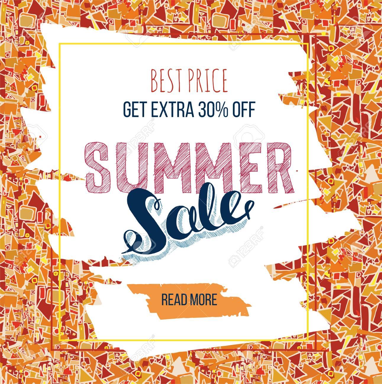 Summer Sale Banniere Decorative Ou Carte De Visite Hand Drawn