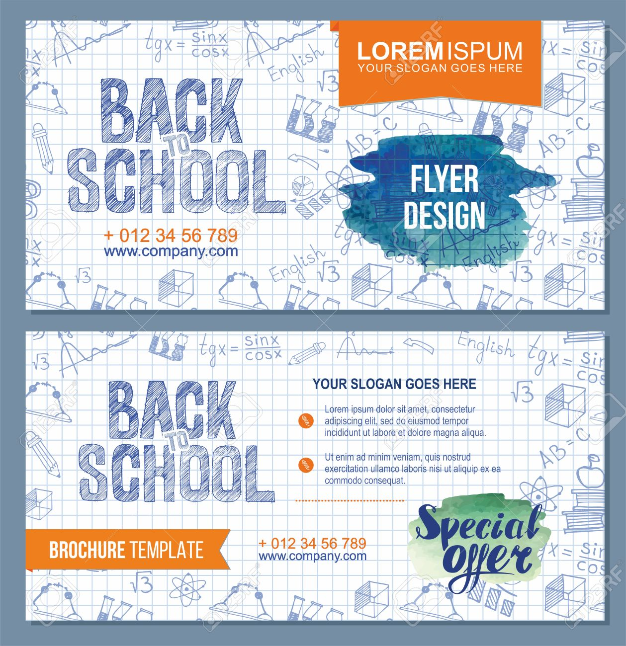 Back To School Flyer Template With Different School Obgects