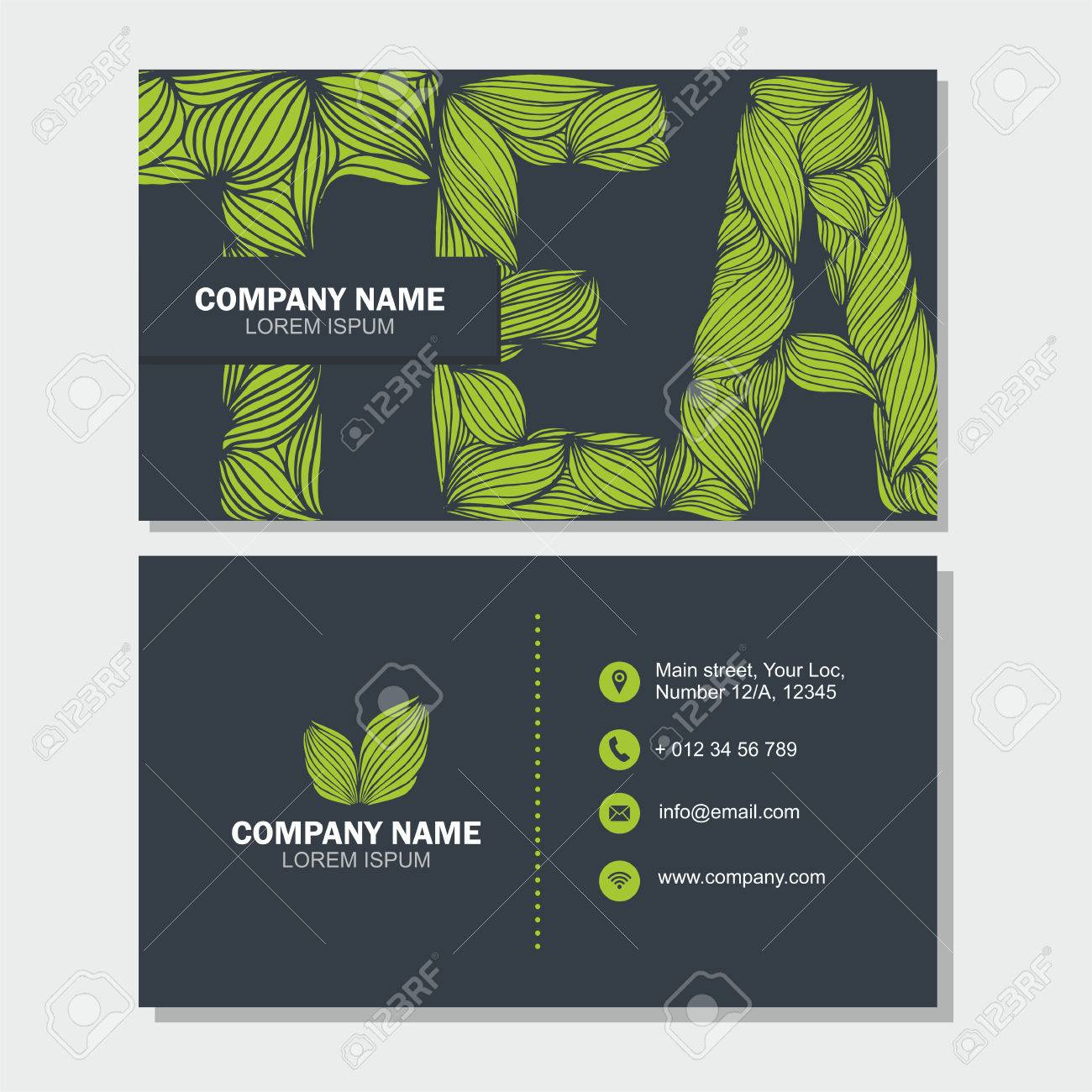 Business Card Or Visiting Card Template With Letter Tea . Vector ...
