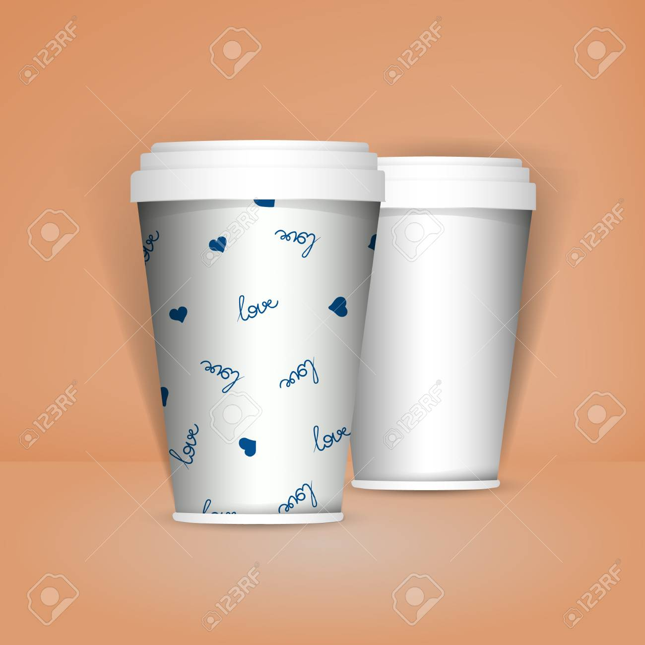 3D Realistic Set Of Paper Coffee Or Tea Cups Mock Up Vector Template