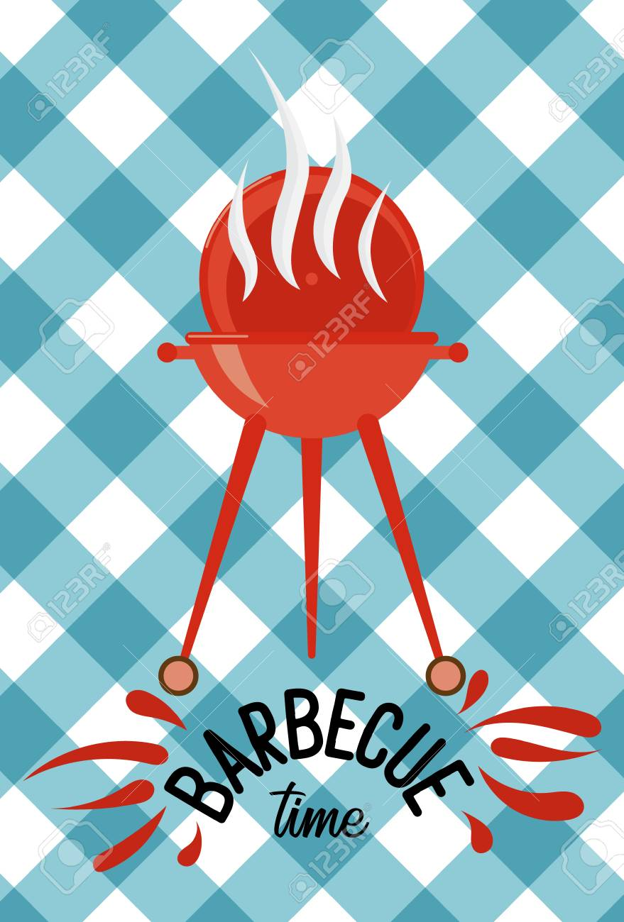 Barbecue Party Invitation Template. Vector Illustration Art ...