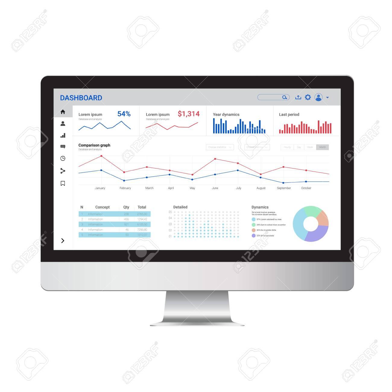Online statistics and data Analytics. Digital marketing and trading templat enad mock up. - 145438330