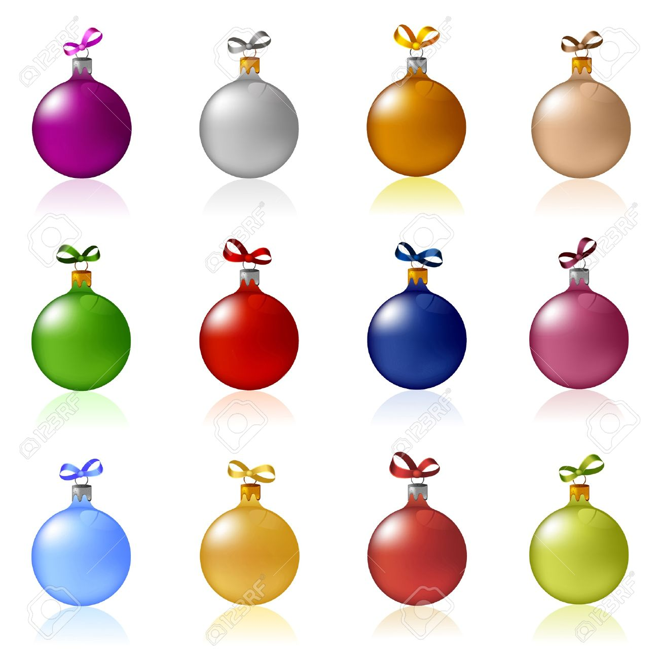 Christmas Ball Clipart.Clip Art Of Colorful Christmas Balls With Bows