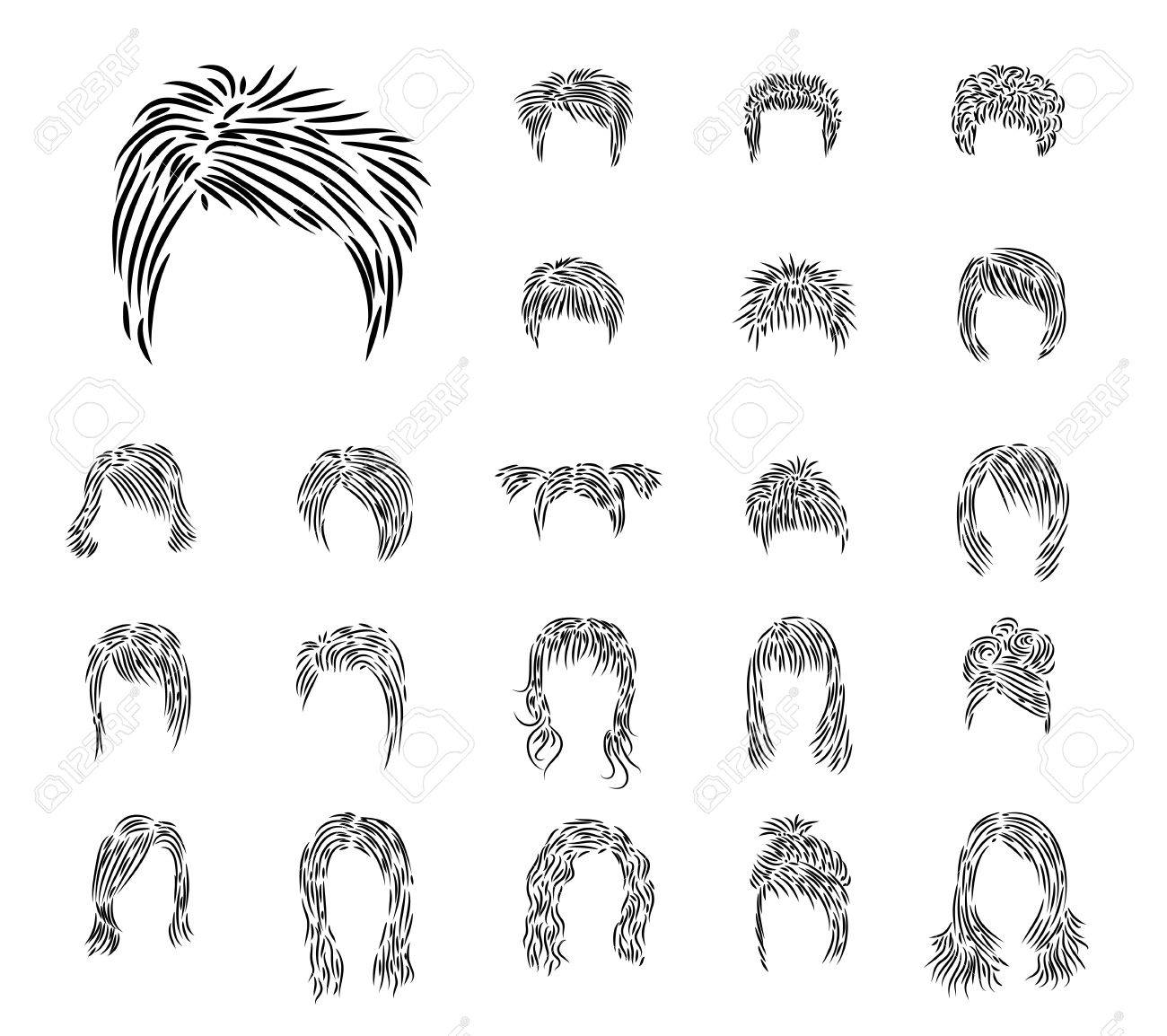 Clip-art from man's and female hairdresses a black brush Stock Vector - 11657586