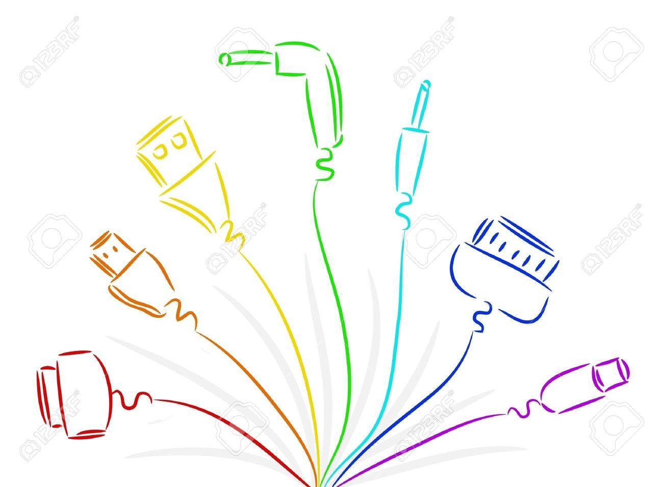 Seven Various Wires In Colours Of A Rainbow Royalty Free Cliparts ...