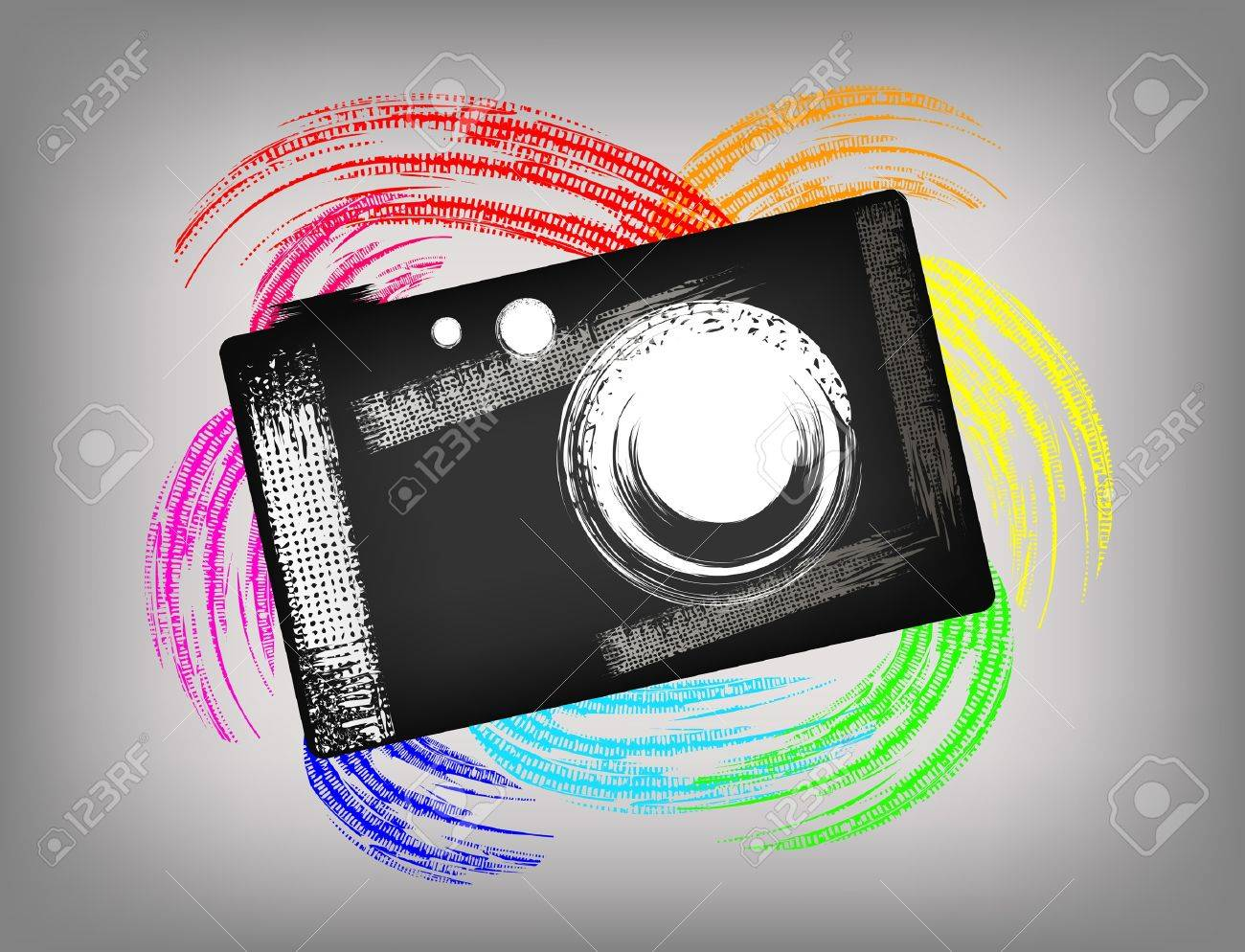 Grunge Camera Vector : The grunge camera on a beautiful background royalty free cliparts