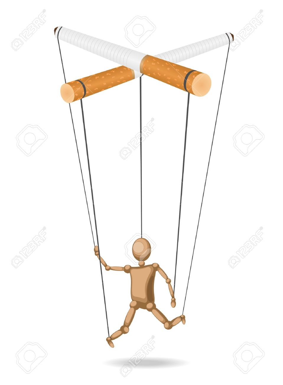 Marionette suspended for cigarettes (concept) is isolated from the background Stock Vector - 11845108