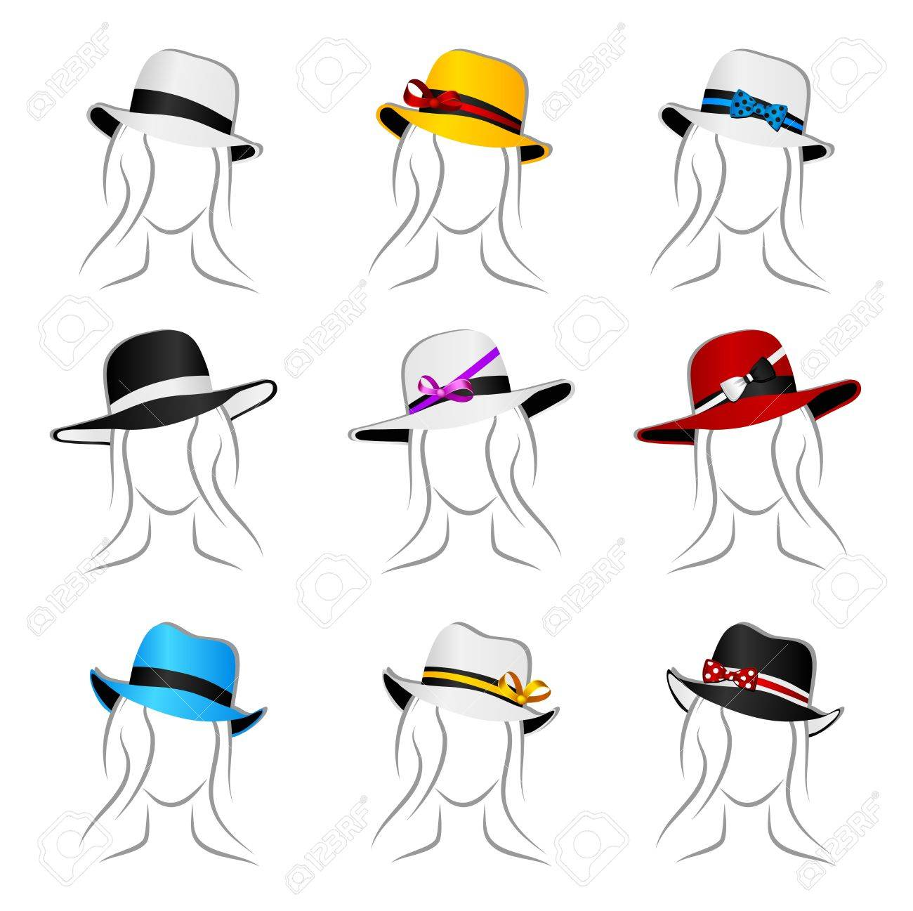 Set from nine beautiful female summer hats Stock Vector - 11845189
