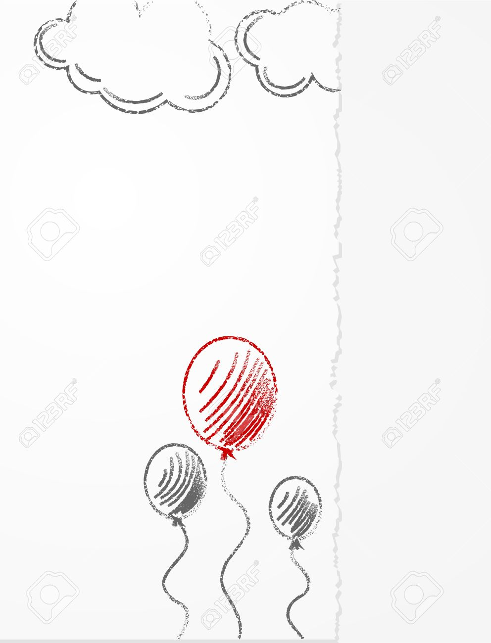 Pencil Drawing On Paper Balloons And Clouds