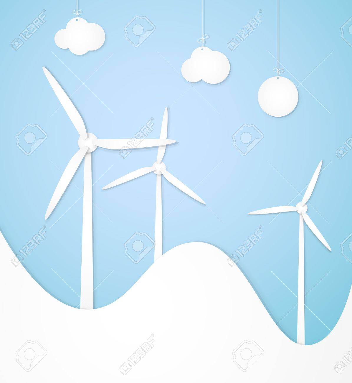 Windmills, lined paper, an alternative energy source Stock Vector - 12834222