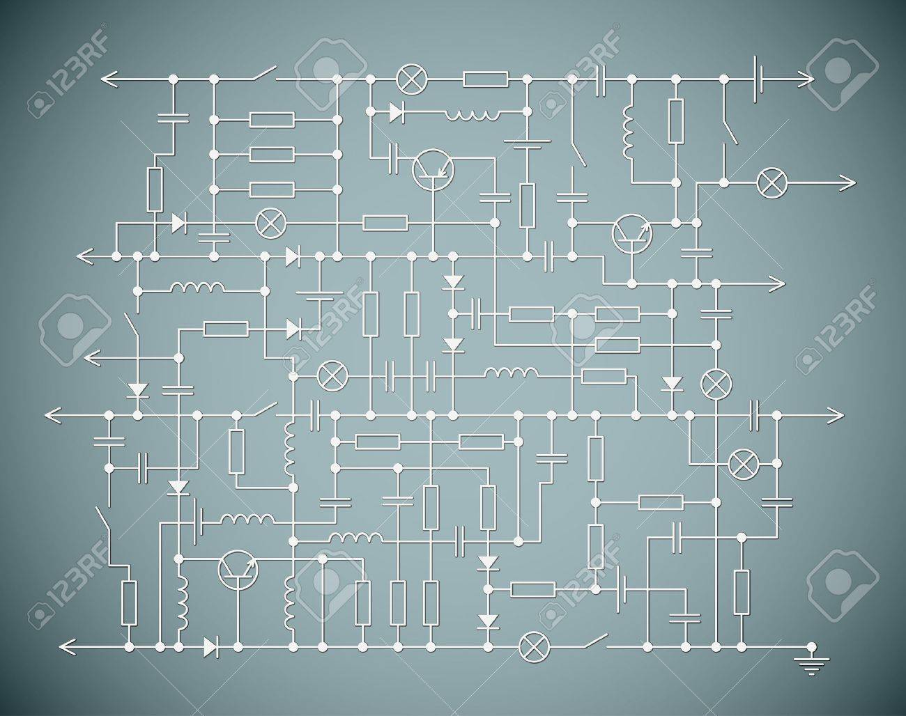 Background With An Electrical Circuit Scheme Royalty Free Cliparts ...