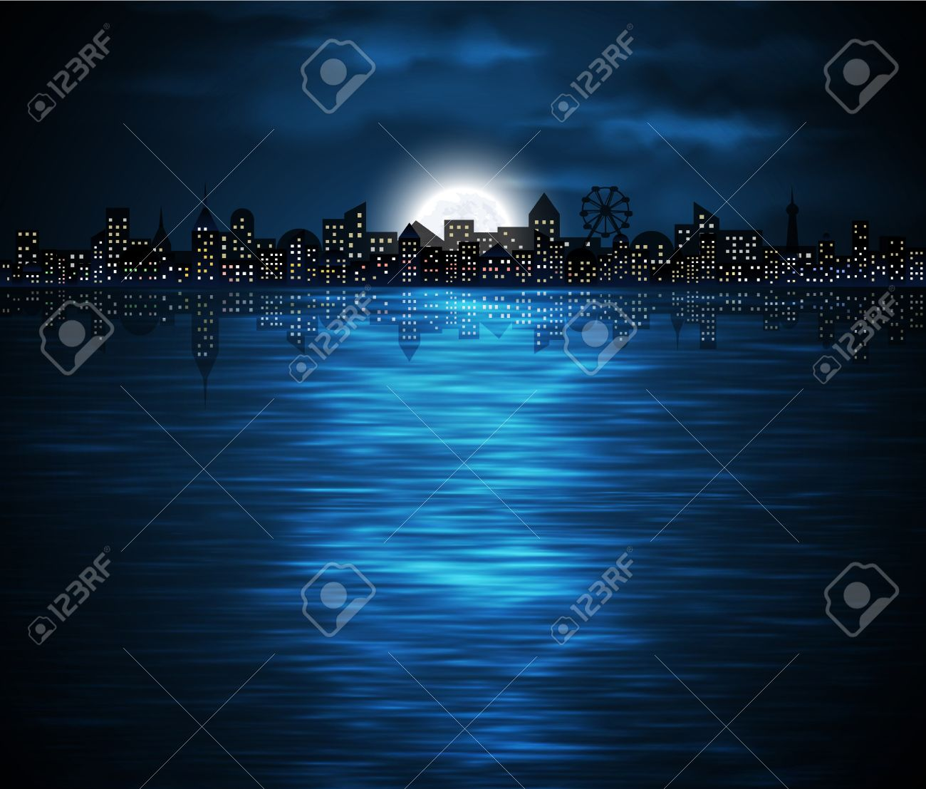 Night view of city on the coast with rising moon Stock Vector - 14770059