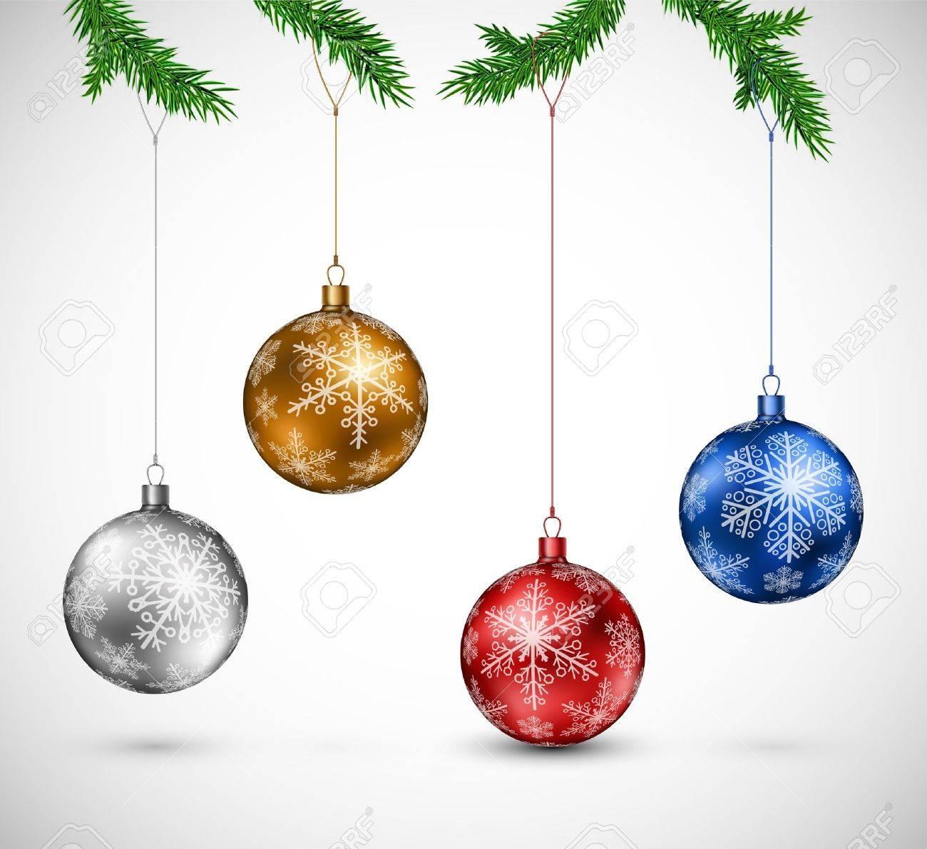 Christmas colorful balls hanging  Eps 10 Stock Vector - 16040769
