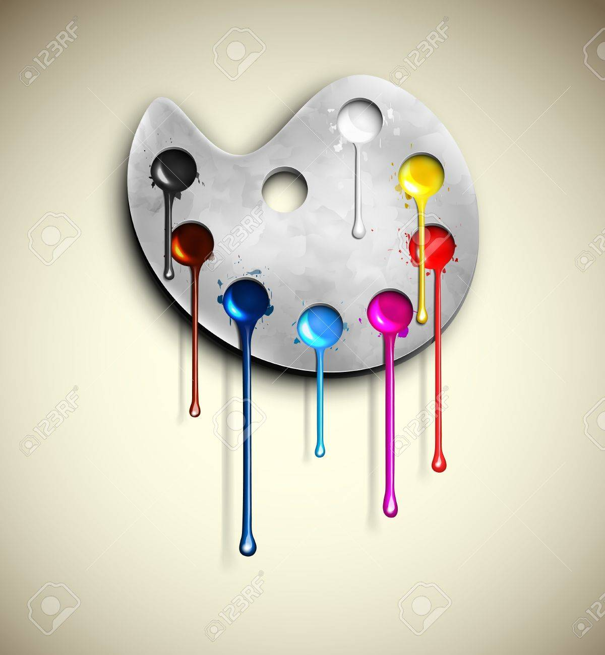 watercolor palette with paint flowing royalty free cliparts, vectors, and  stock illustration. image 18228797.  123rf