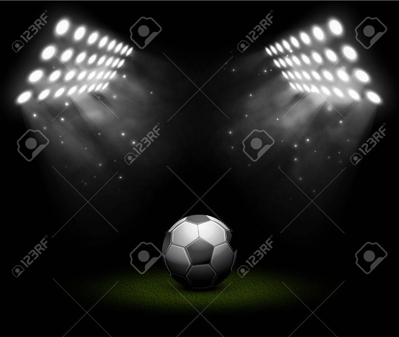 Soccer ball in light of searchlights Stock Vector - 20220759