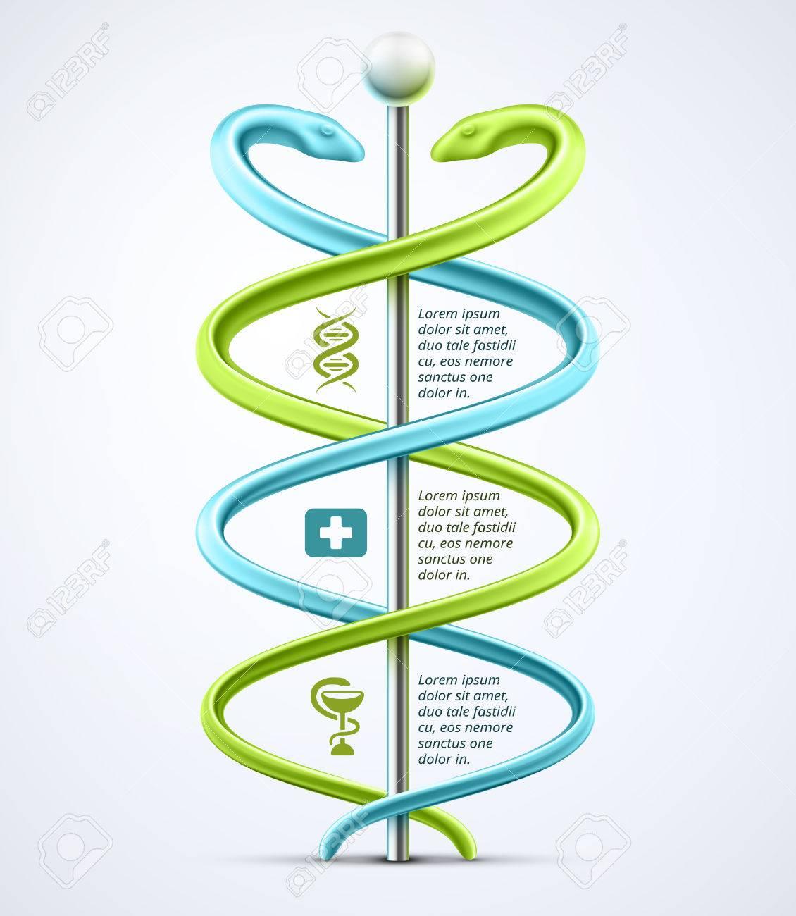 Caduceus, medical infographic Stock Vector - 26079413