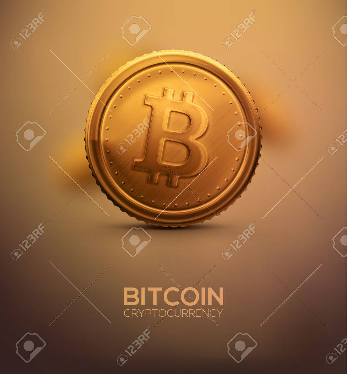 Gold bitcoin, cryptocurrency Standard-Bild - 36482334