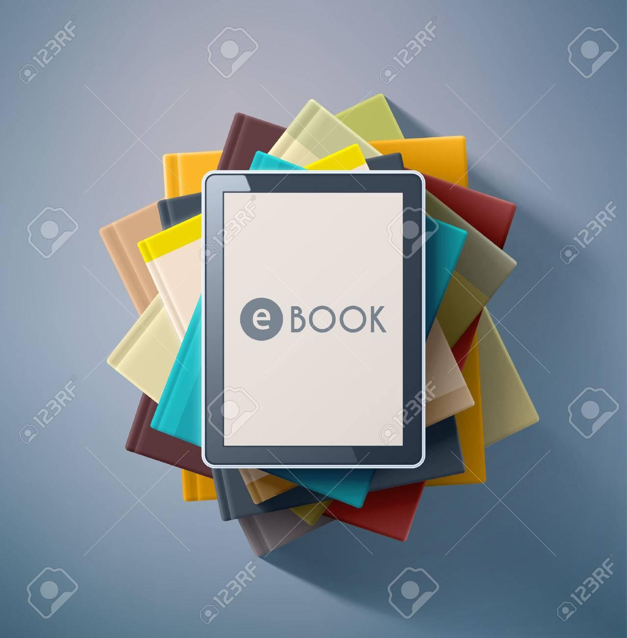 E-book, stack of books Standard-Bild - 39941679