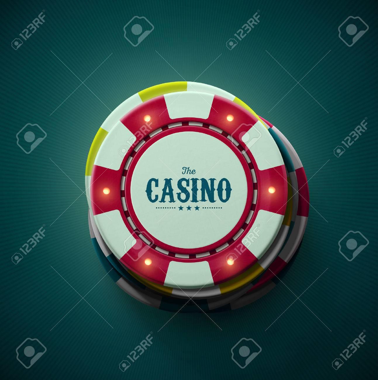 Casino chips, top view Standard-Bild - 40880488