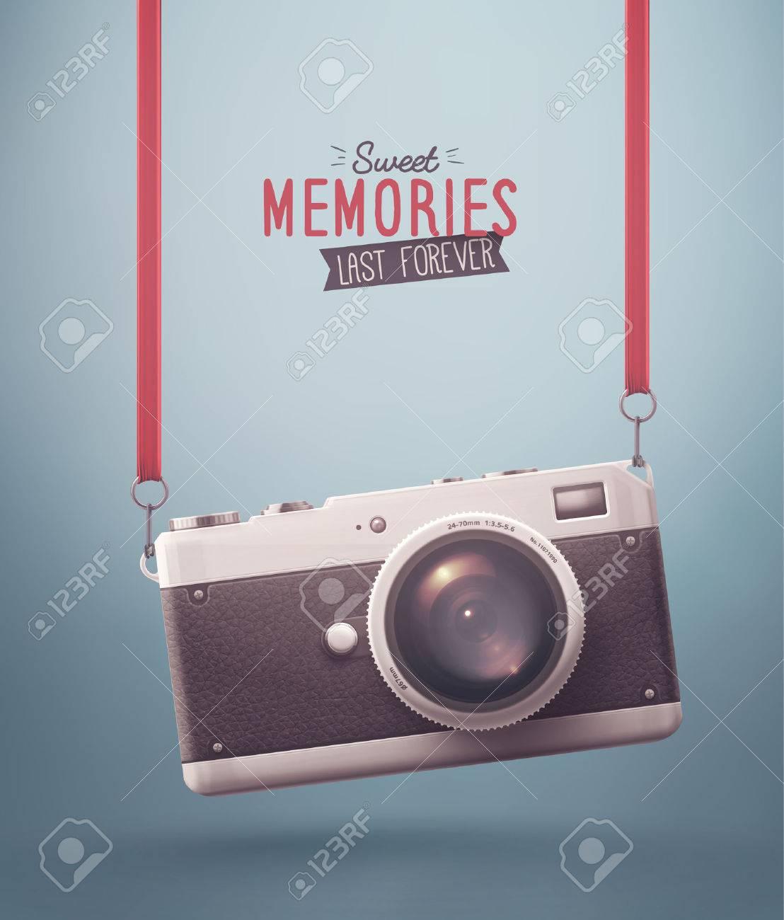 Hanging retro camera, sweet memories, eps 10 Standard-Bild - 43327858