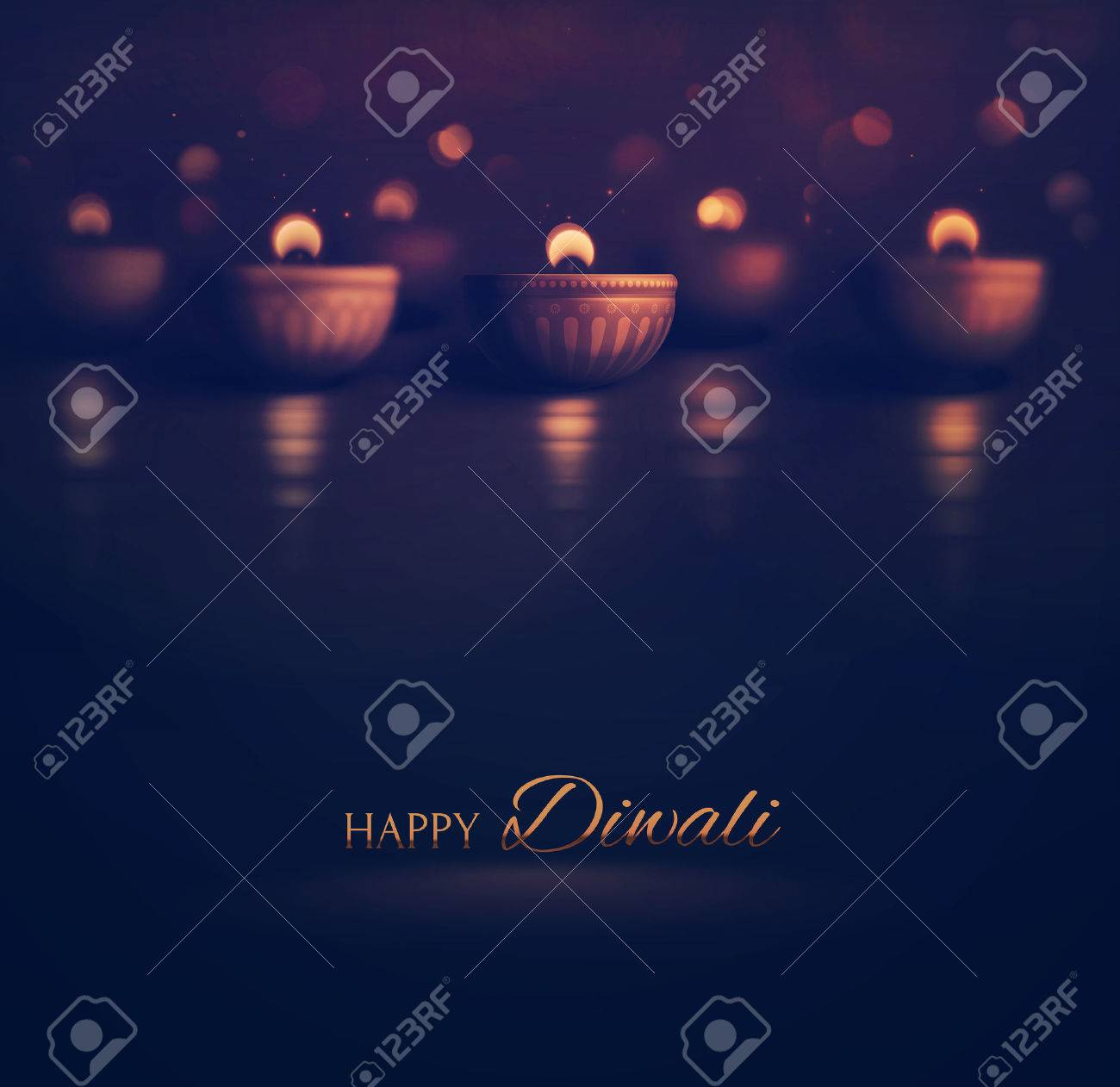 Happy Diwali, burning diya, eps 10 Standard-Bild - 46952303