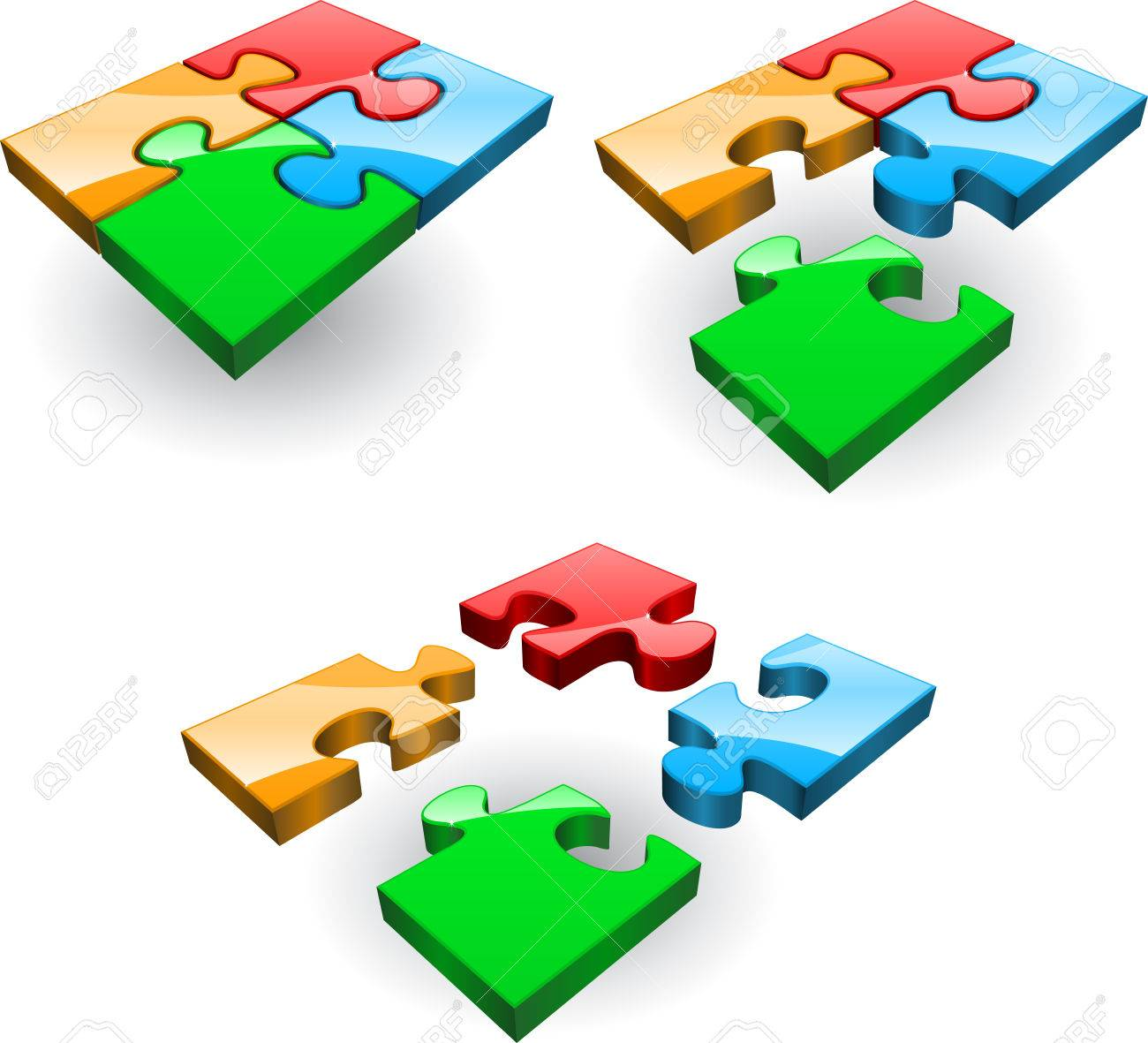 Set of four puzzles collected from different Stock Vector - 7919130