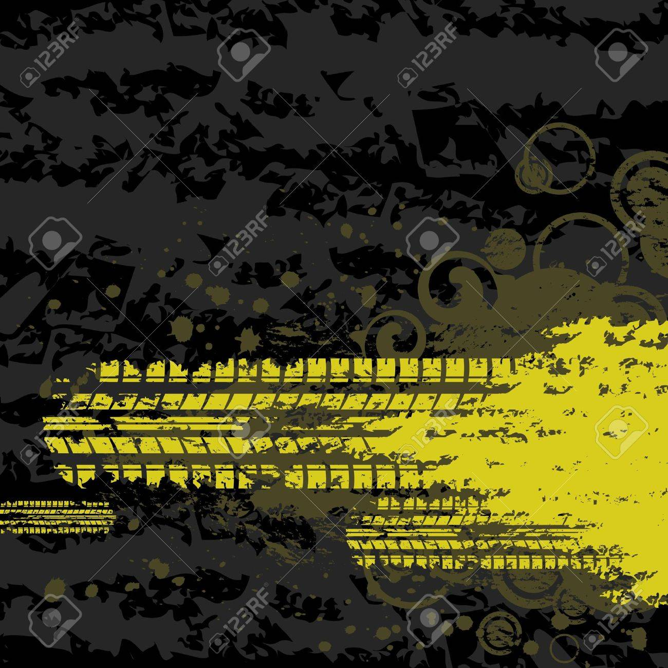 Yellow tire track background Stock Vector - 13129107