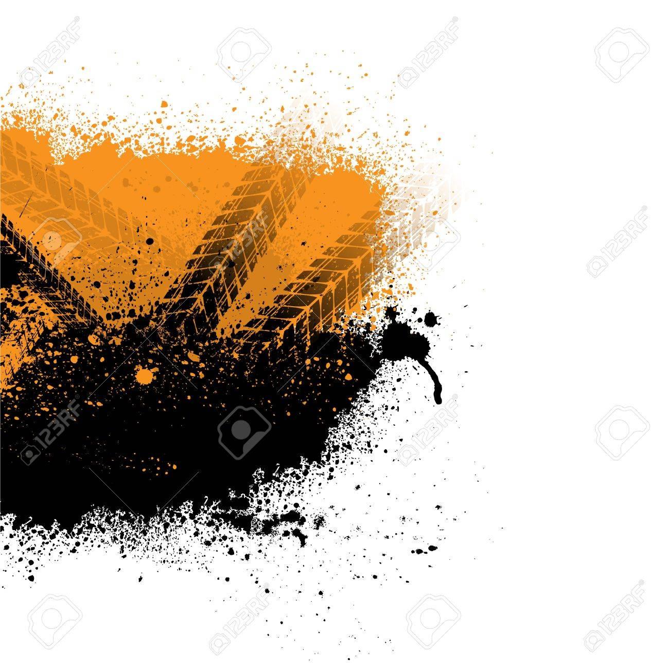 Ink blots tire track Stock Vector - 16751627