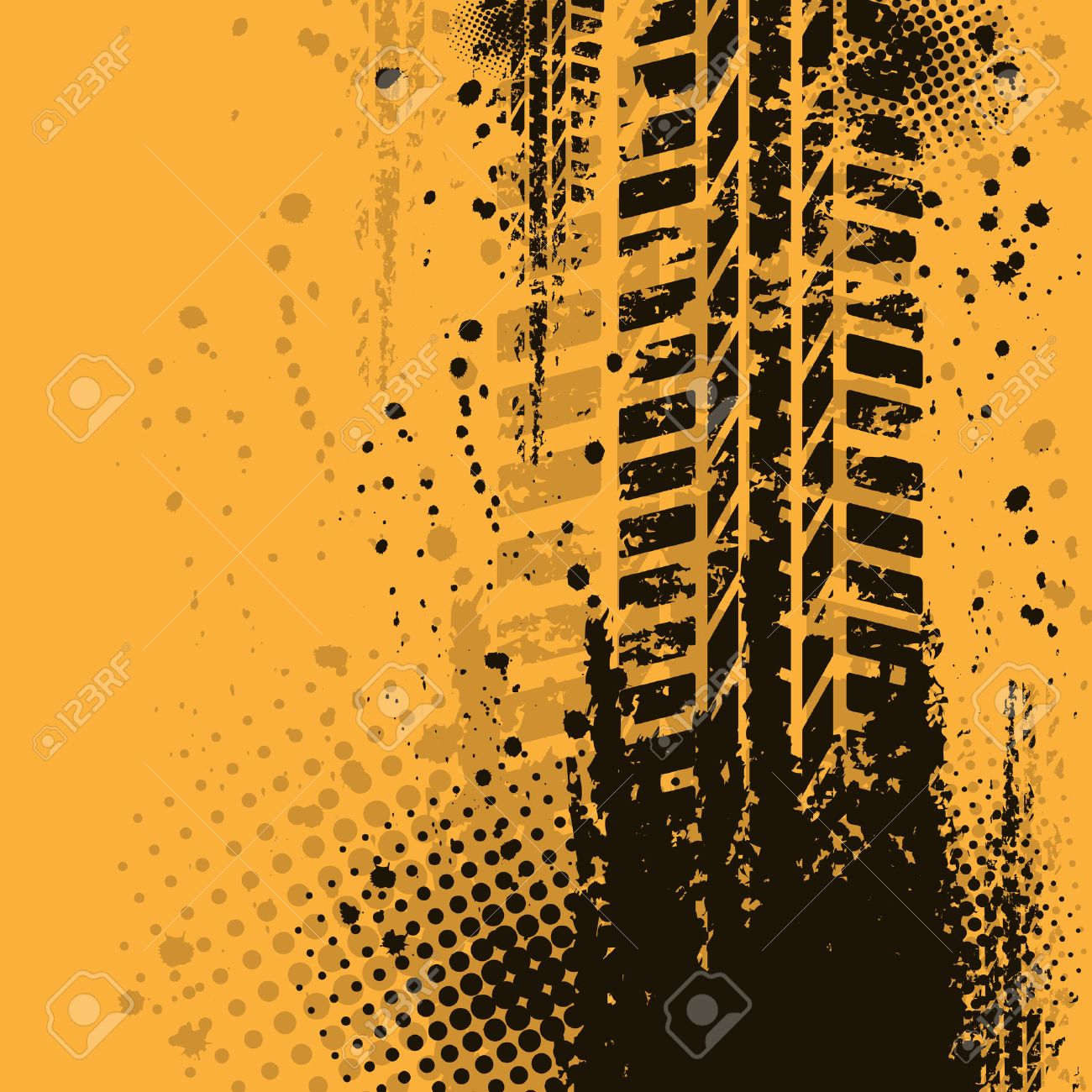 Orange grunge background with black tire track. eps10 Stock Vector - 23469759