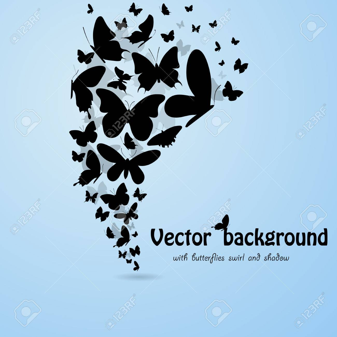 Blue backgroound with butterflies silhouettes. eps10 Stock Vector - 23975165
