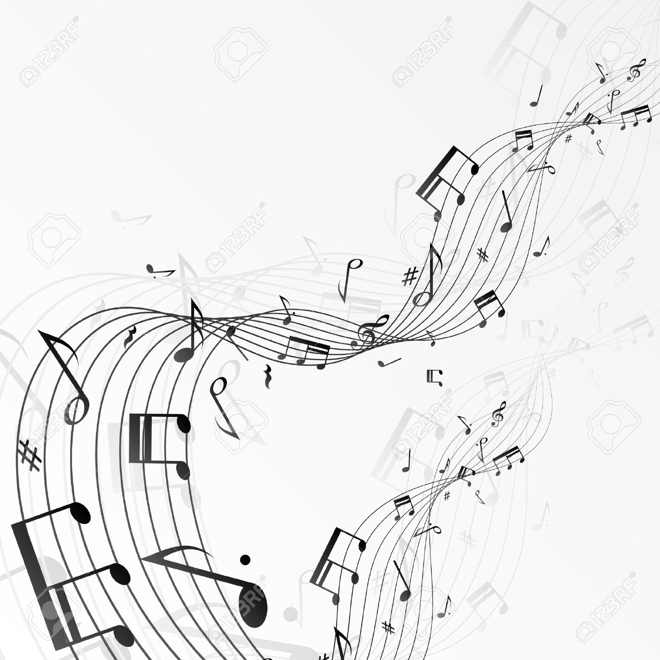 Background with music notes. - 23977150