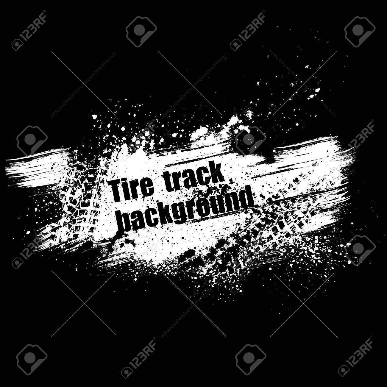 Black background with tire track and grunge splash. - 23979275