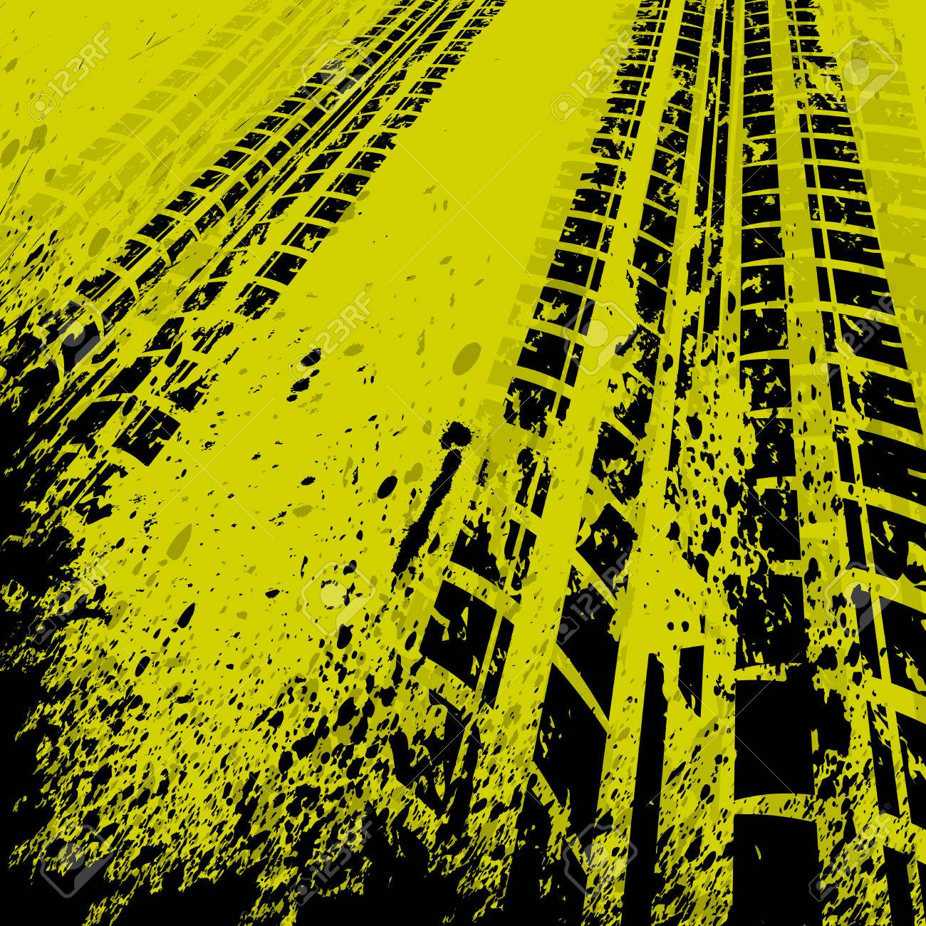 Yellow grunge background with black tire track. - 26787486