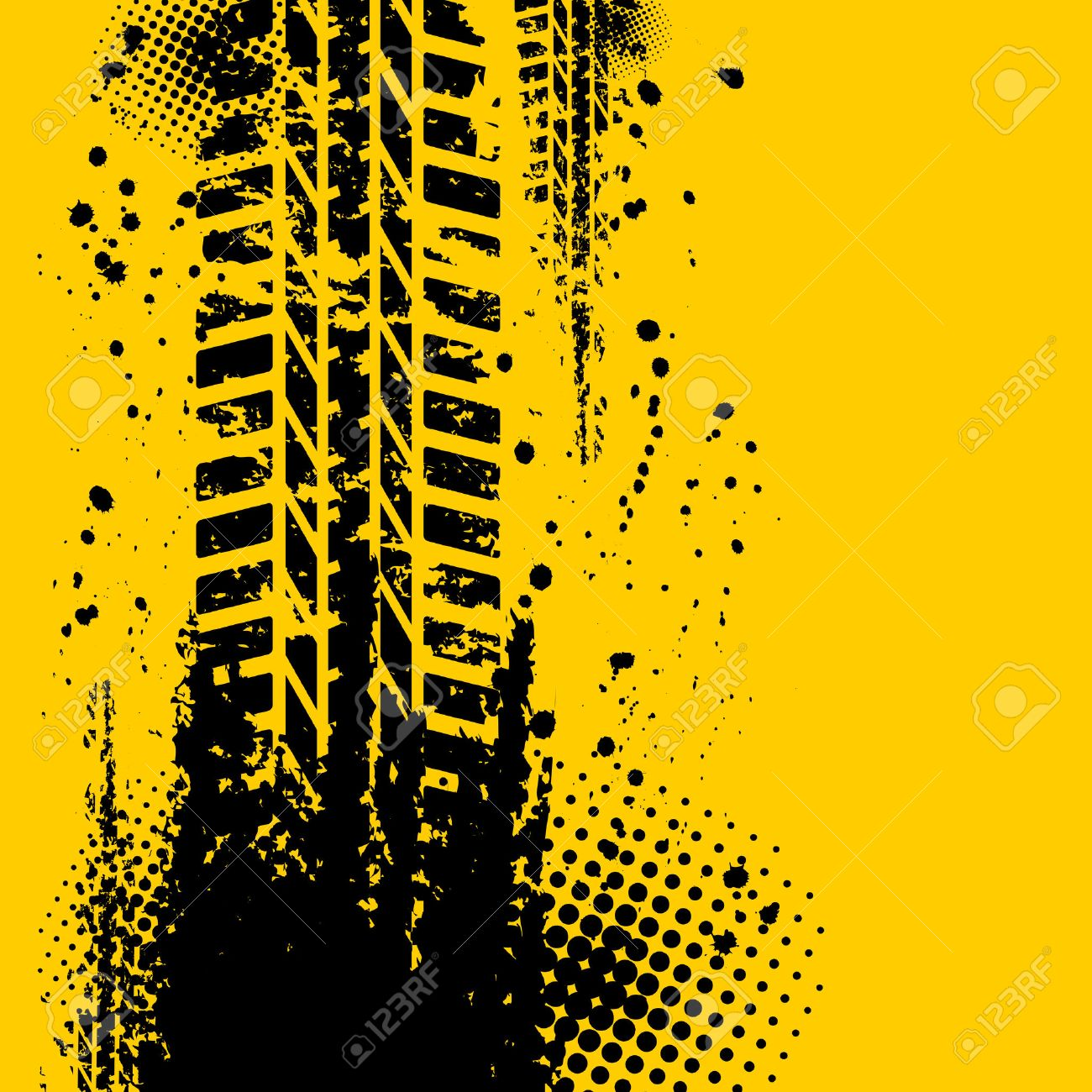 Yellow tire track background - 34207902