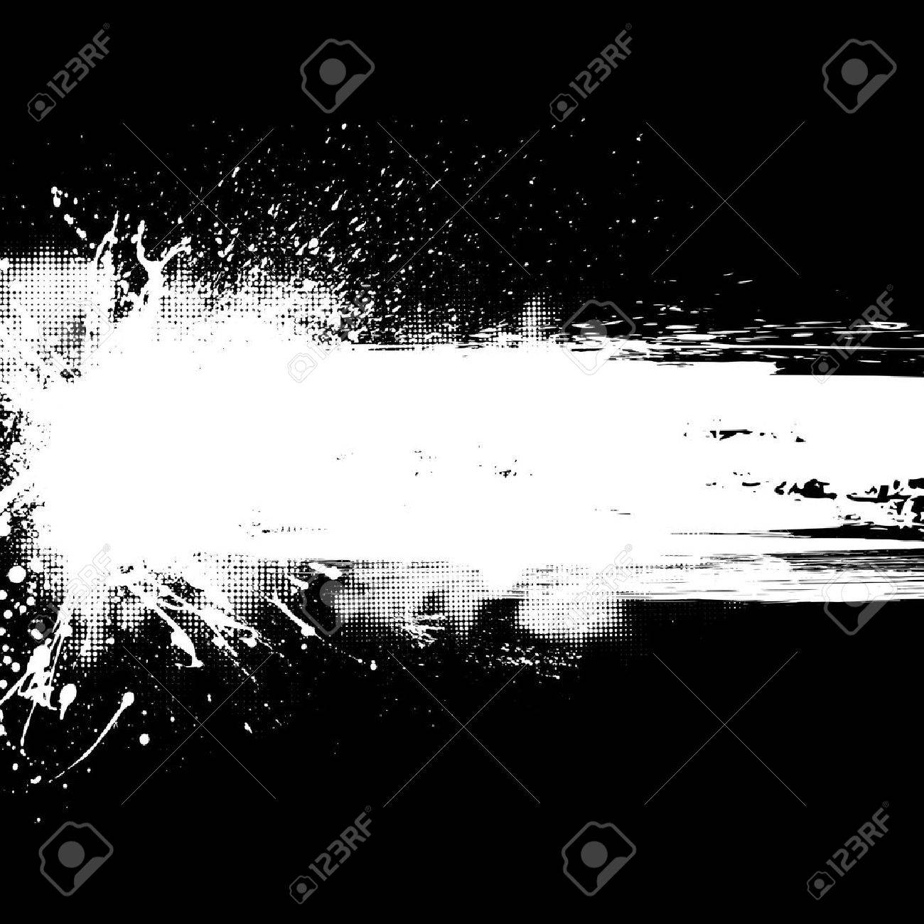 Black background with white ink blots and halftones. - 43853783