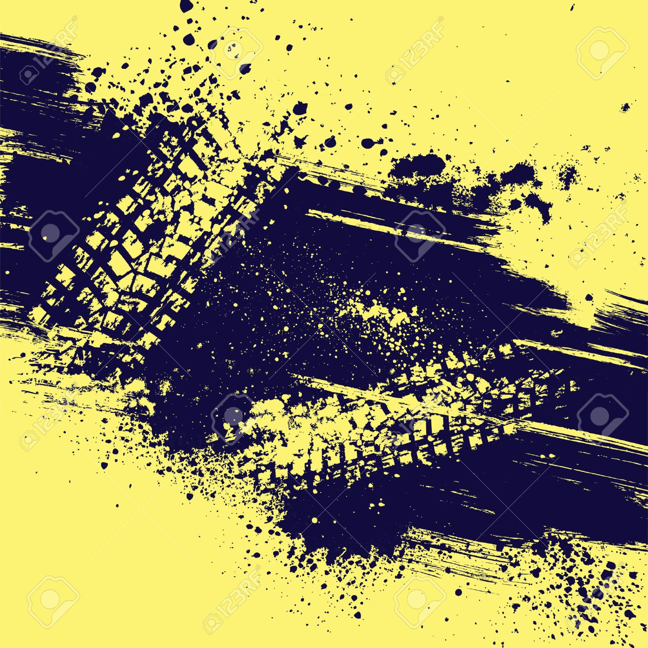 Yellow background with tire track and grunge splash. eps10 - 45501419