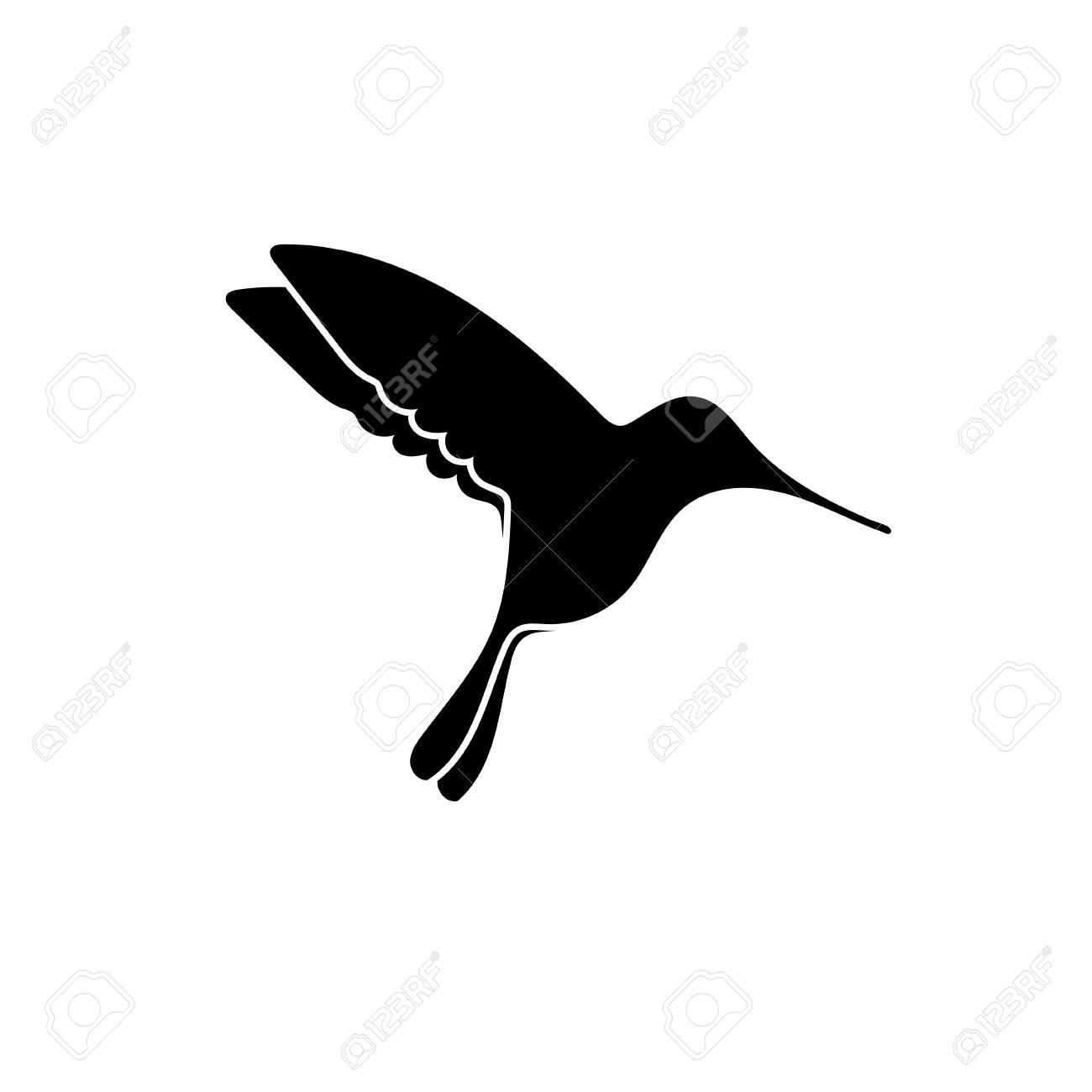 Negro Silueta De La Pequeña Colibri Aislado En Blanco Ilustraciones